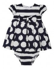 M&Co - Spot and stripe bow dress