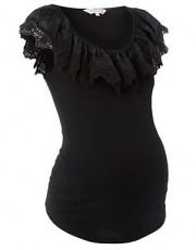 Maternity black ruffle neck gypsy top