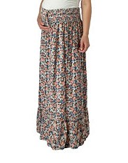 new look maternity floral shirred maxi pregnancy skirt