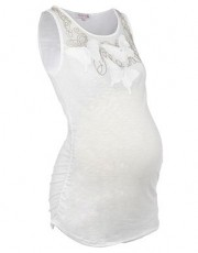 Red Herring - Maternity white butterfly embellished vest top