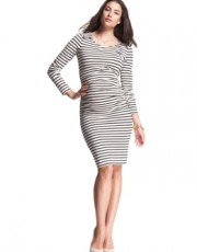 Isabella Oliver - Ruched Breton Button Dress