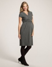 Mothercare - Maternity Grey Marl V-Neck Empire Jersey Dress