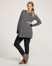 Mothercare - Maternity Stripe Knitted Tunic - Navy & Cream