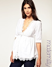 Asos maternity cotton tunic with lace £30