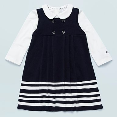 Jasper Conran navy knitted pinafore and white bodysuit £24