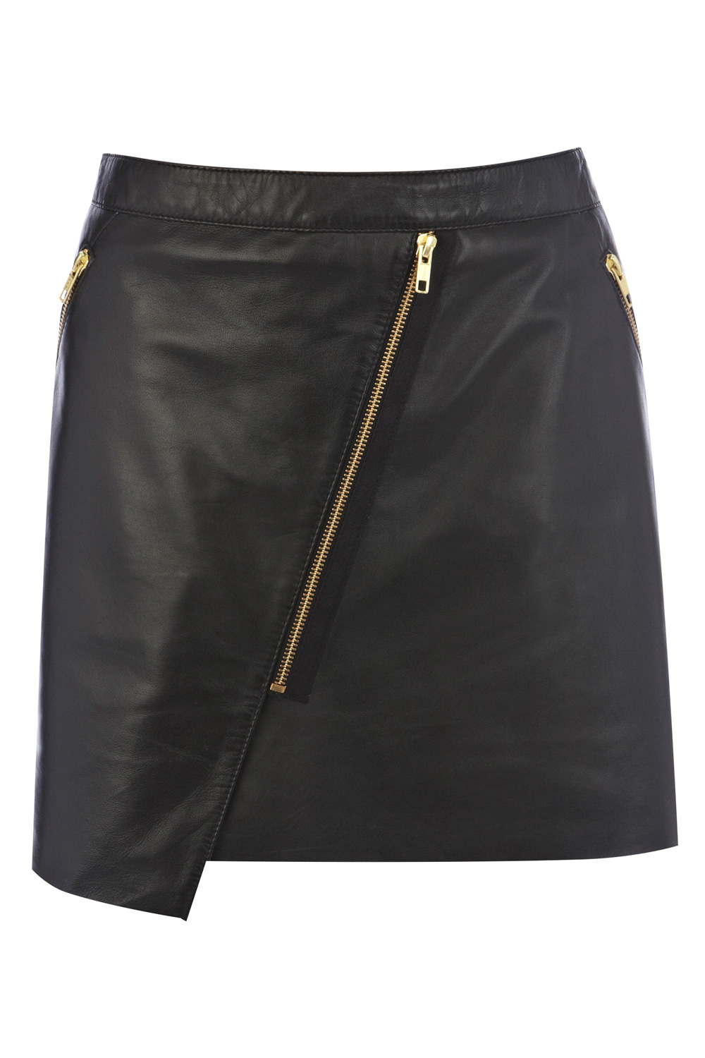 Warehouse leather Zip-front biker skirt £75