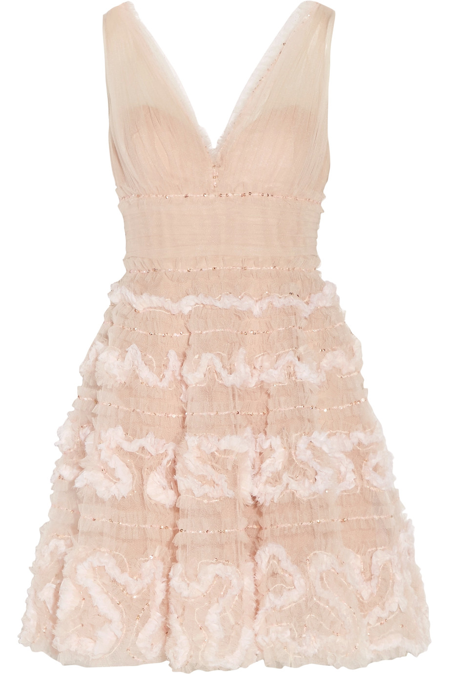 Marchesa sequin tulle mini dress